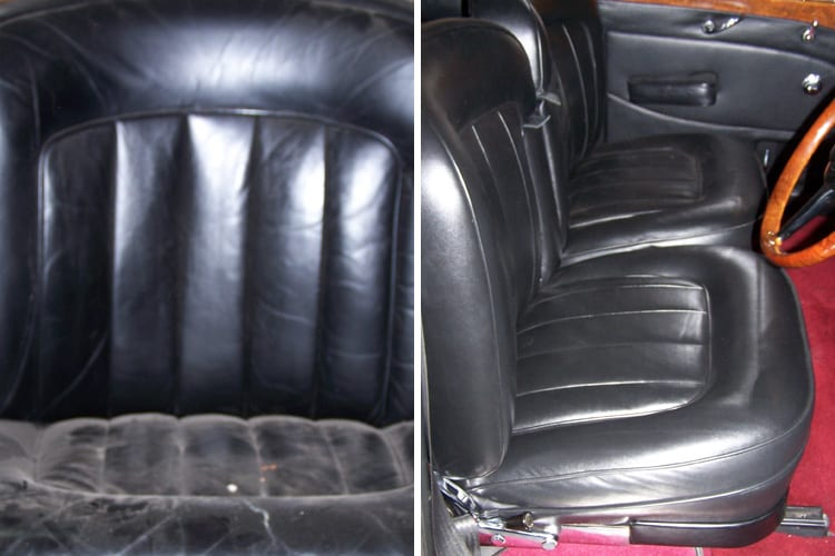 1950s Bentley backseat before and after, Motor Trimming Adelaide
