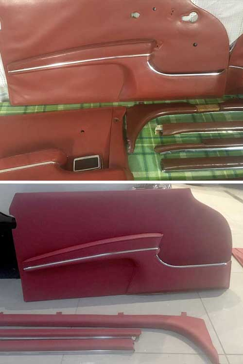 60s Mercedes Coupe door trim and pieces, before and after
