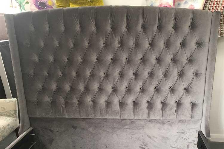 Custom built velvet deep button bedhead