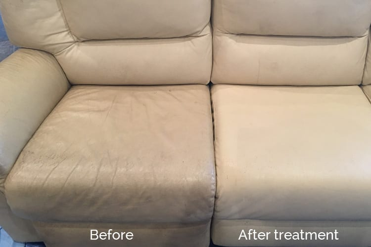 Beige couch cleaned and conditioned, Leather restoration Adelaide