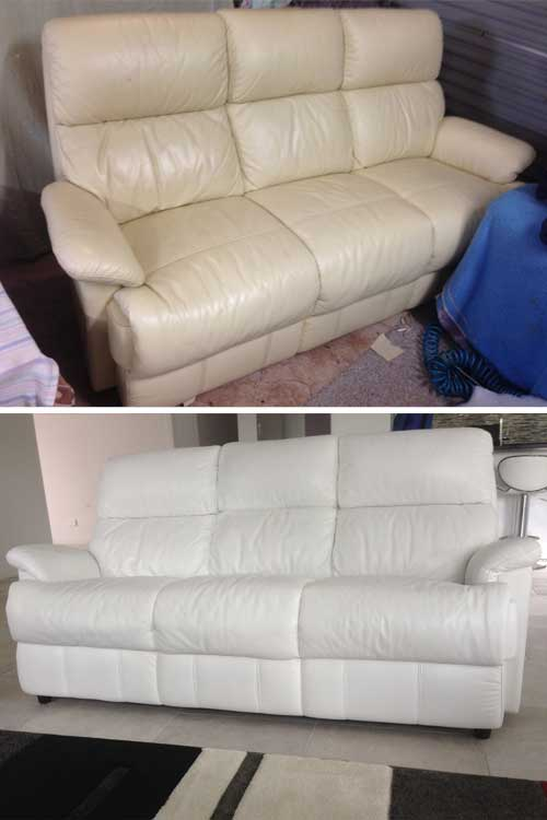 White leather couch colour change, before and after, Mohr upholstery Adelaide
