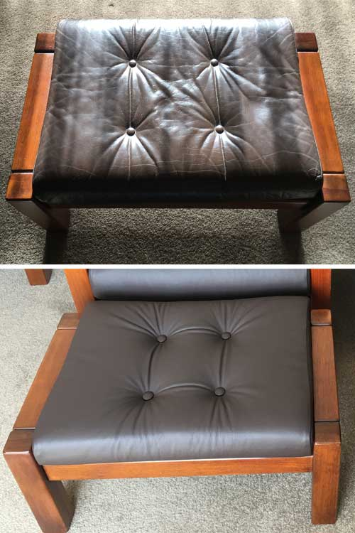 Footstool colour change, before and after