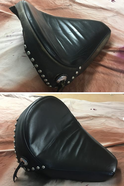 Harley Davidson seat before and after, Motor Trimming Adelaide
