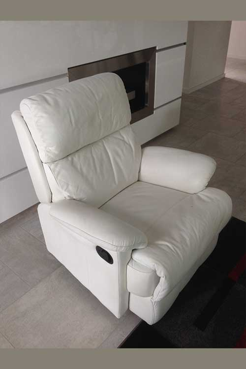 White leather armchair colour change Mohr upholstery Adelaide