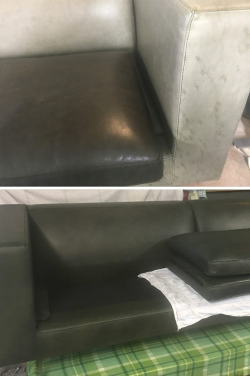 Leather recolour, before and after, Mohr upholstery Adelaide