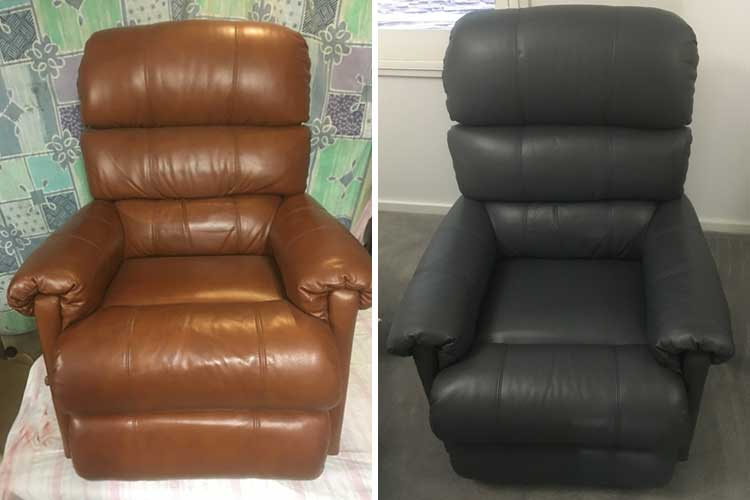Leather recliner colour change, before and after