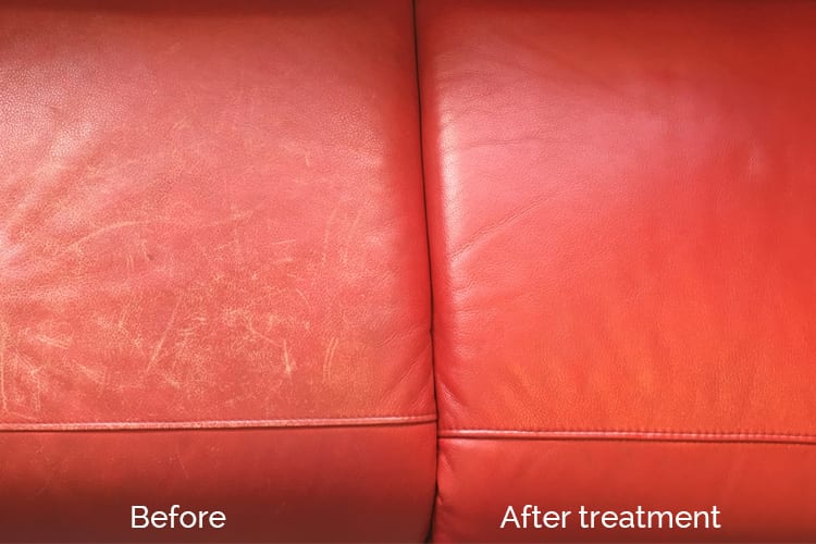 Red couch cleaned and conditioned, Leather restoration Adelaide