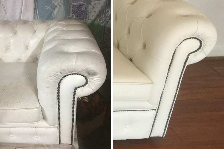 Leather Chesterfield clean strip and recolour, before and after