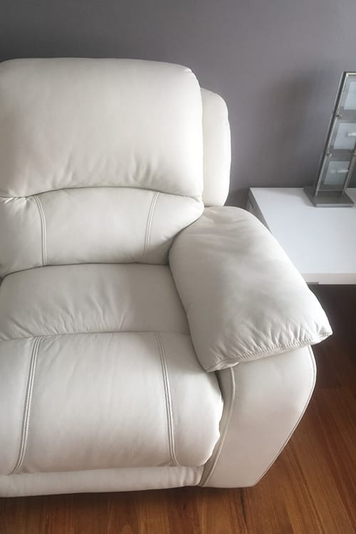White leather couch recoloured Mohr upholstery Adelaide