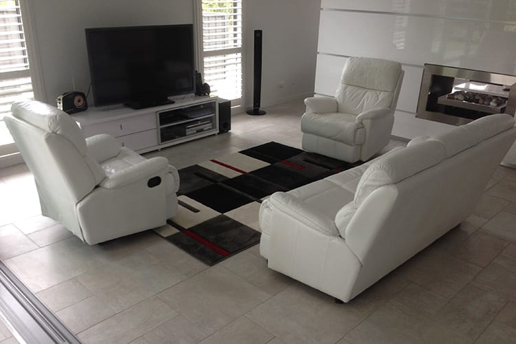 White leather lounge suite colour change Mohr upholstery Adelaide